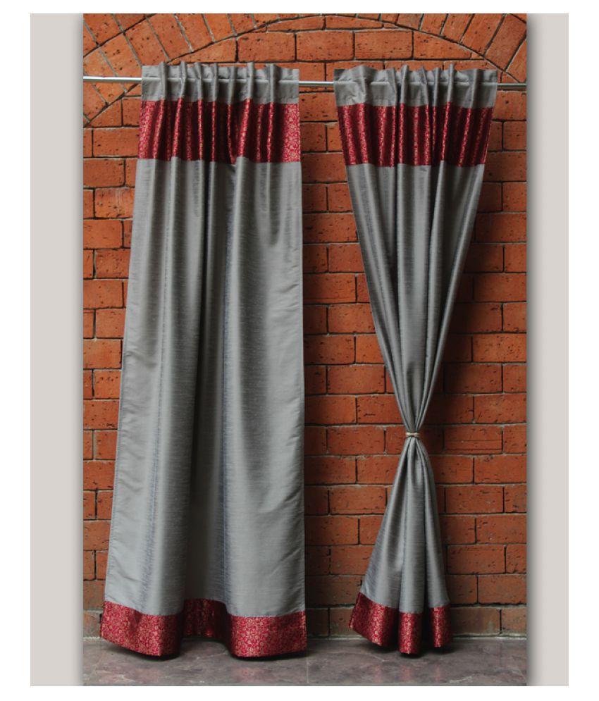 Zeba Single Door Loop Polyester Curtains Red