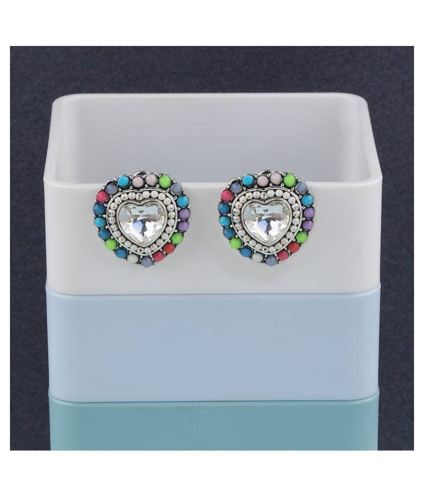 Charm Heart Shape Diamond Multi Colour Stud Earring For Women Girl