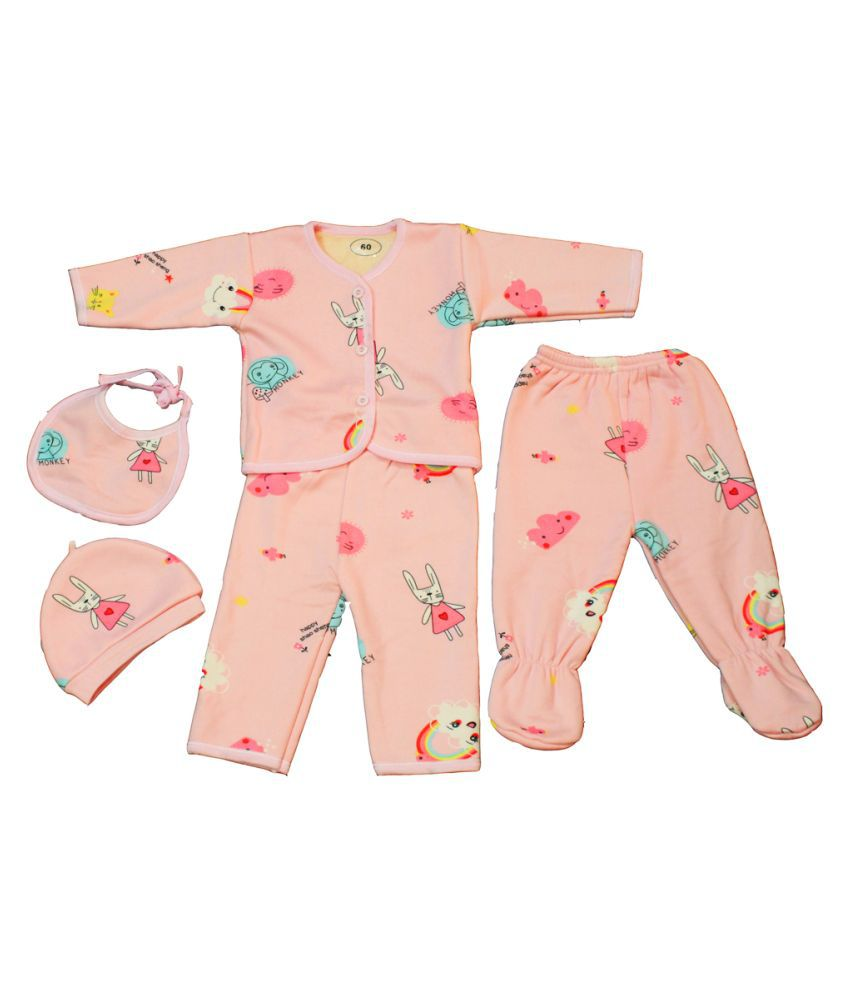 New Born Baby Winter Wear Clothes 5Pcs Set- (0 to 6 Months)