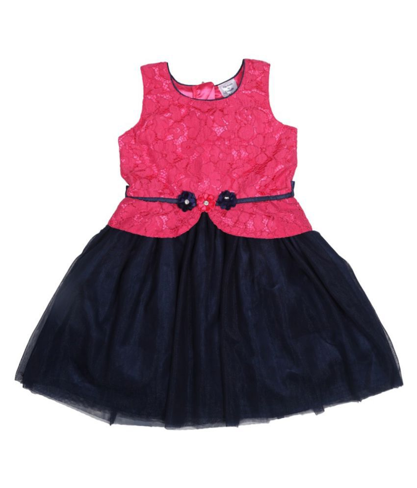 Doodle Navy Color Sleeveless Long Party Wear Dress for Girls