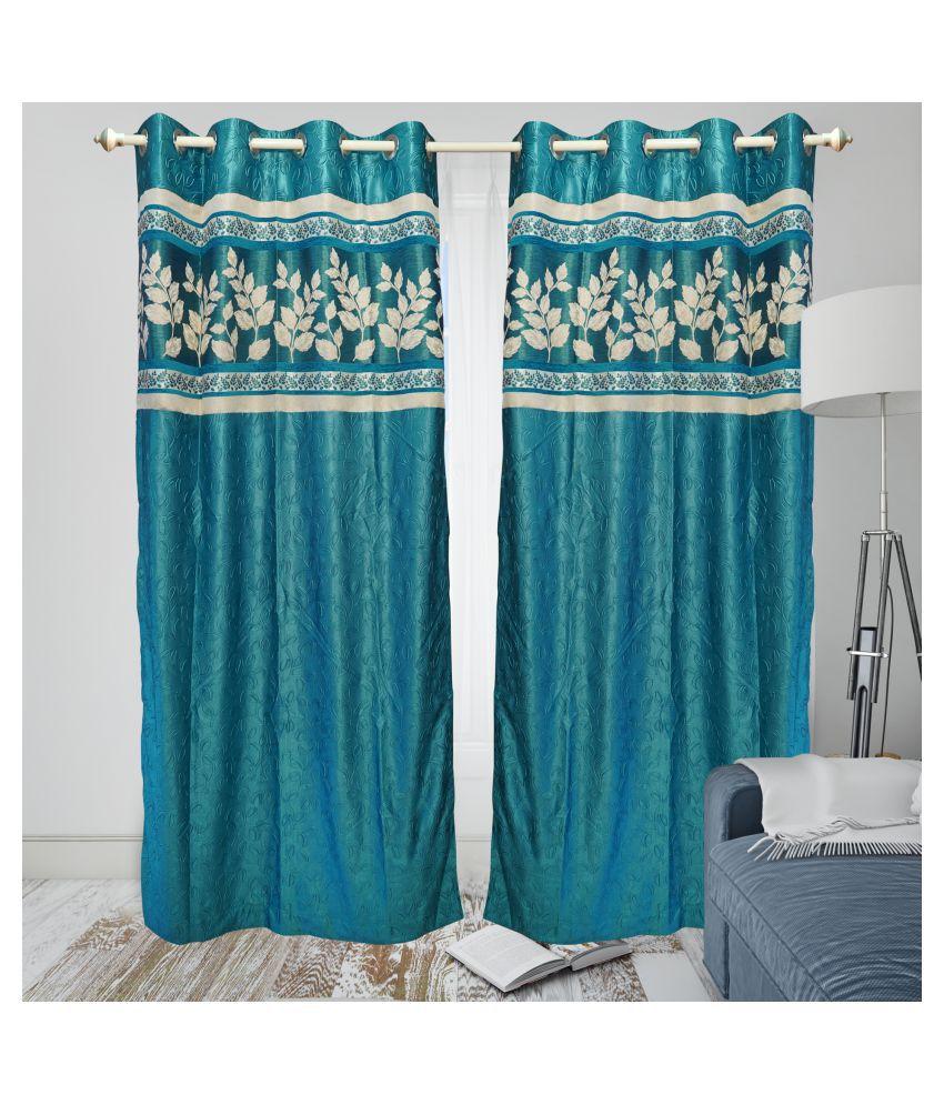 gold decor Single Window Semi-Transparent Eyelet Polyester Curtains Turquoise