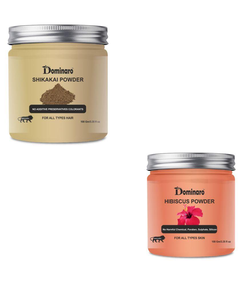 Dominaro 100% Pure Shikakai & Hibiscus Powder Face Pack 200 gm Pack of 2