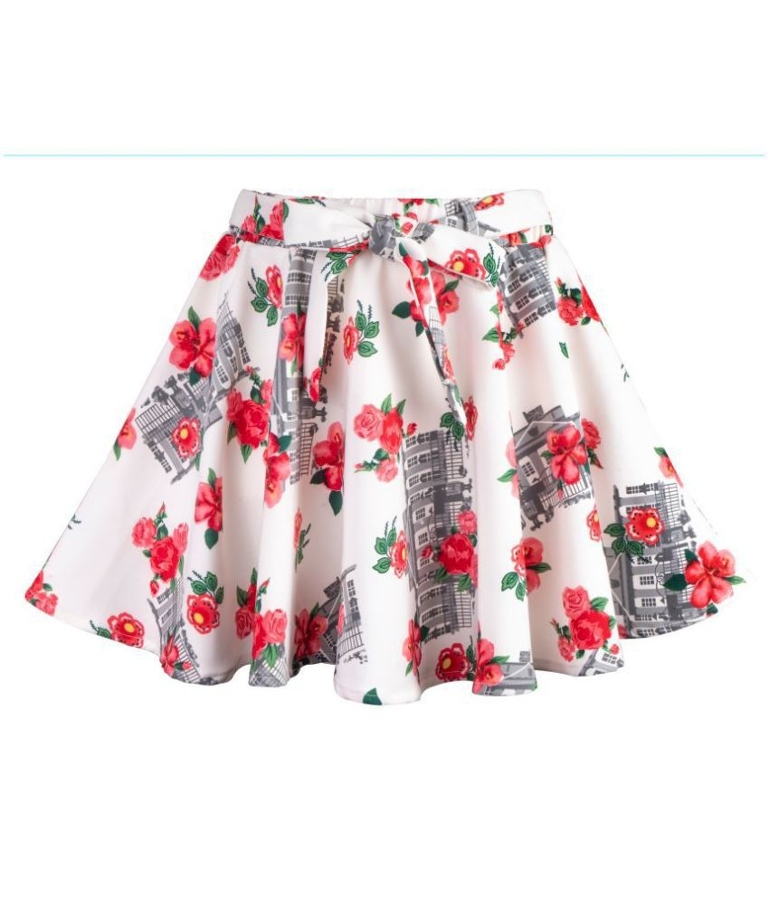 Hunny Bunny Girls Red Floral Print Flared Skirt