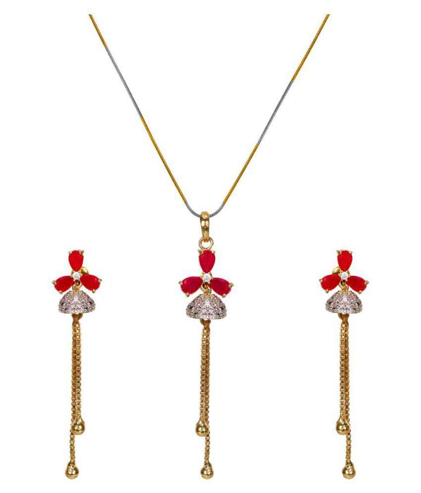 Ladymania Pink Studded Ameican Diamond Pedant set for Woman/Girls