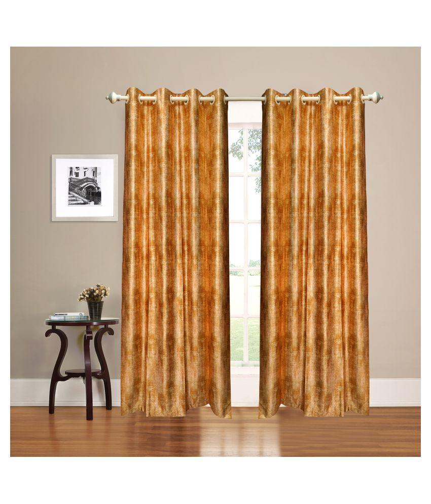 gold decor Single Door Semi-Transparent Eyelet Polyester Curtains Gold