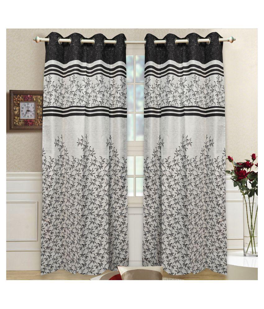 gold decor Single Door Semi-Transparent Eyelet Polyester Curtains Grey