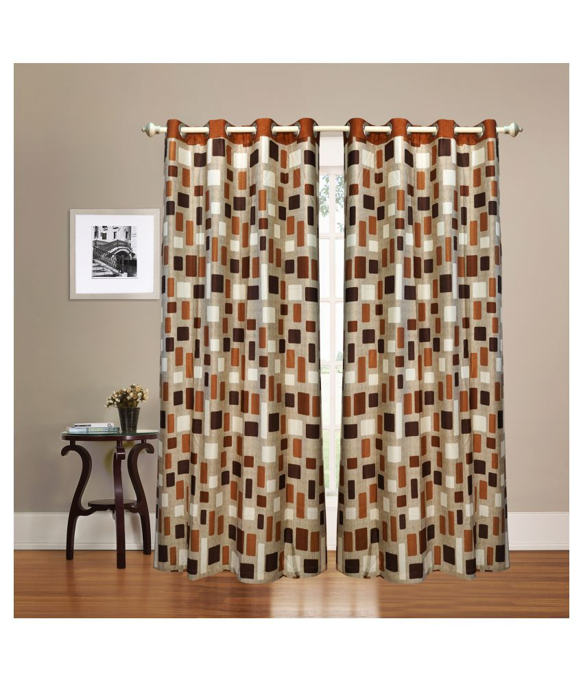 gold decor Single Window Semi-Transparent Eyelet Polyester Curtains Brown