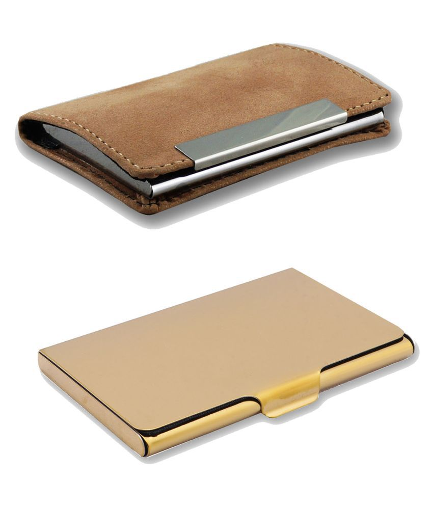 Auteur VCH2-34 Multicolor Artificial Leather Professional Looking Visiting Card Holders for Men and Women Set of 2 (upto 15 Cards Capacity)