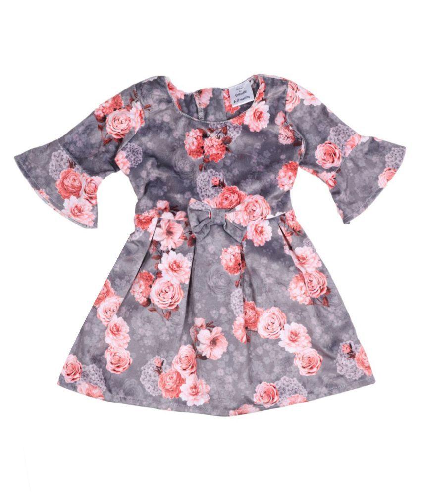 Doodle Coral Color 3/4 Sleeve Dress for Girls