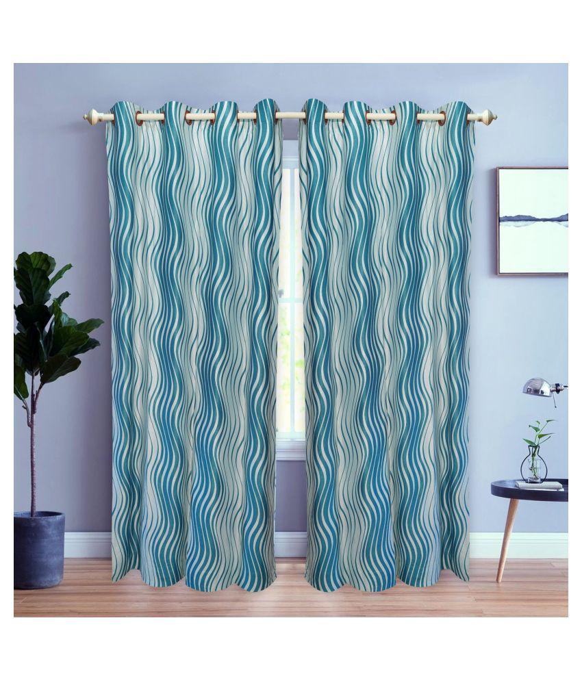 gold decor Single Door Semi-Transparent Eyelet Polyester Curtains Turquoise