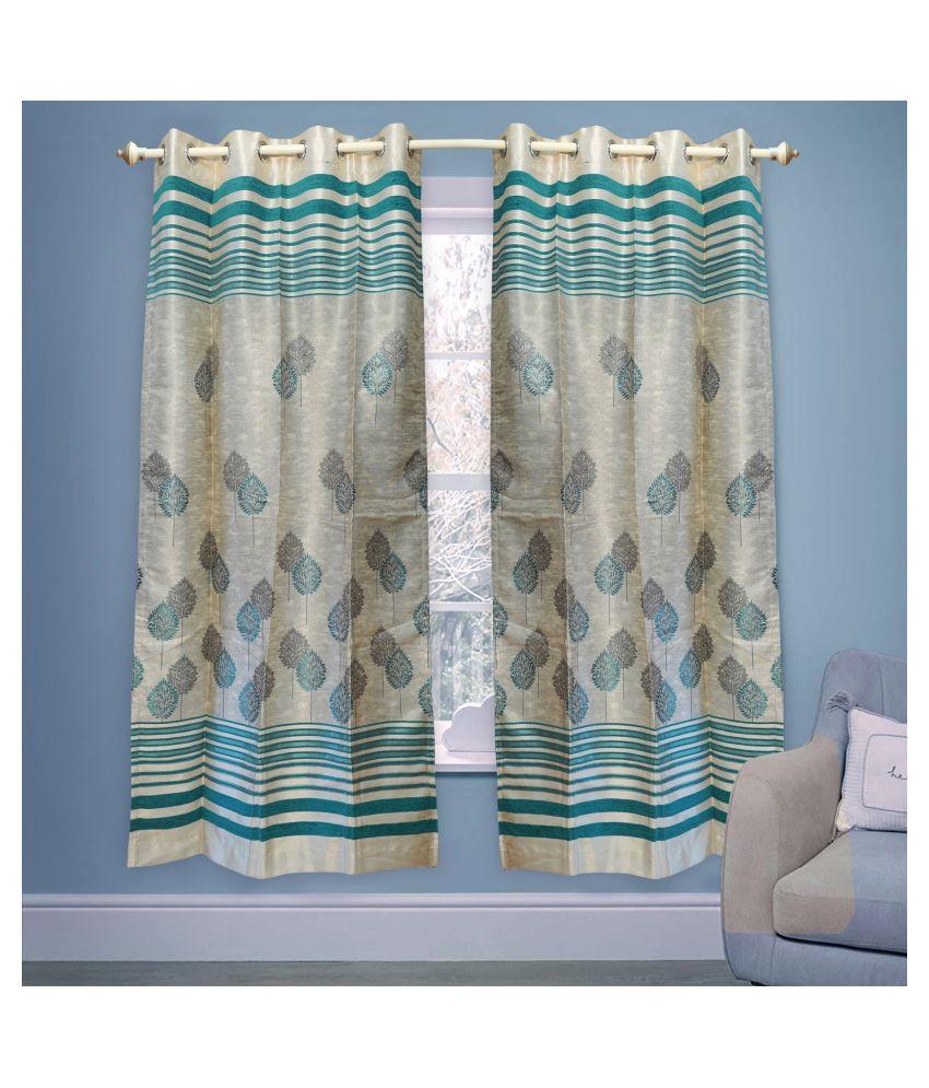 gold decor Single Door Semi-Transparent Eyelet Polyester Curtains Cream