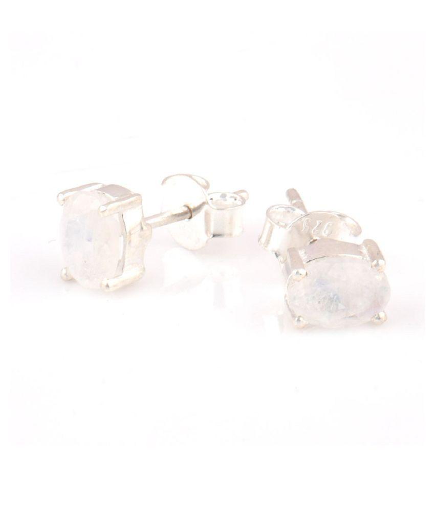 KUNDLI GEMS -moonstone stud Earrings Original & Effective Sterling Silver  Earrings For Women & Girls