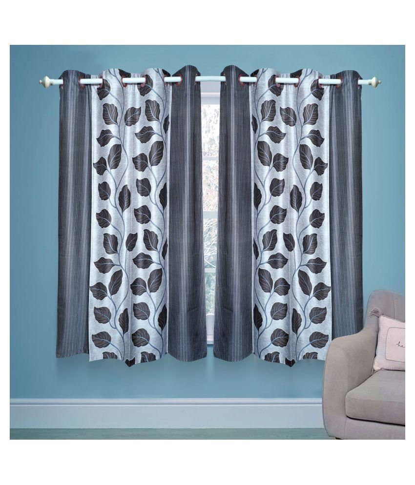 gold decor Single Door Semi-Transparent Eyelet Polyester Curtains Silver
