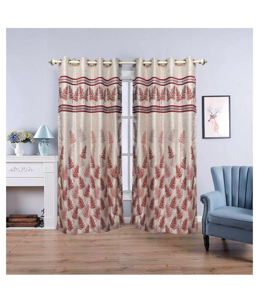 gold decor Single Window Semi-Transparent Eyelet Polyester Curtains Beige