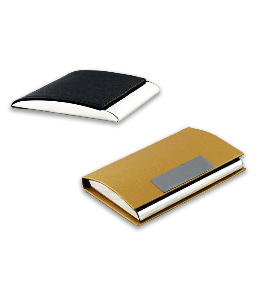 Auteur VCH3-56 Multicolor Artificial Leather Professional Looking Visiting Card Holders for Men and Women Set of 2 (upto 15 Cards Capacity)