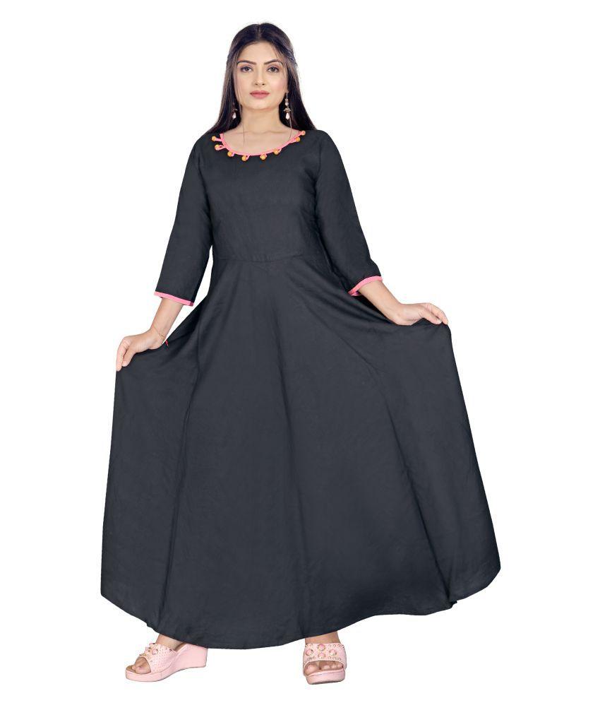 SAI TELECOM Rayon Black A- line Dress