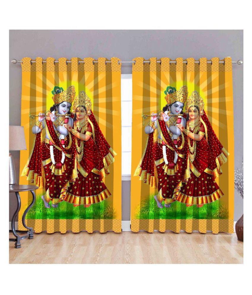 Koli trading co Set of 2 Window Semi-Transparent Eyelet Polyester Curtains Multi Color