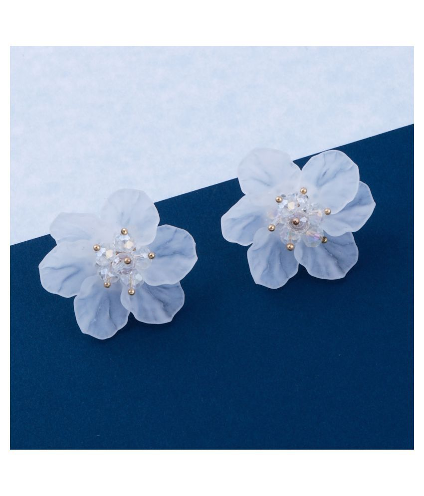 Premium White Attractive Floral Stud Earring With Beads For Girls And Women