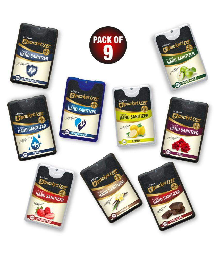 LA ORGANO Pocketizer Hand Sanitizer 18 mL Pack of 9