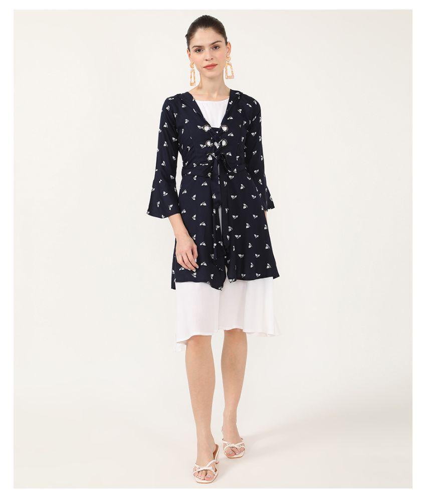 V2 Rayon Navy A- line Dress