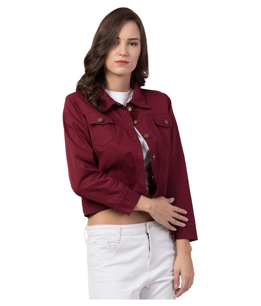 retrobella Cotton Blend Maroon Jackets