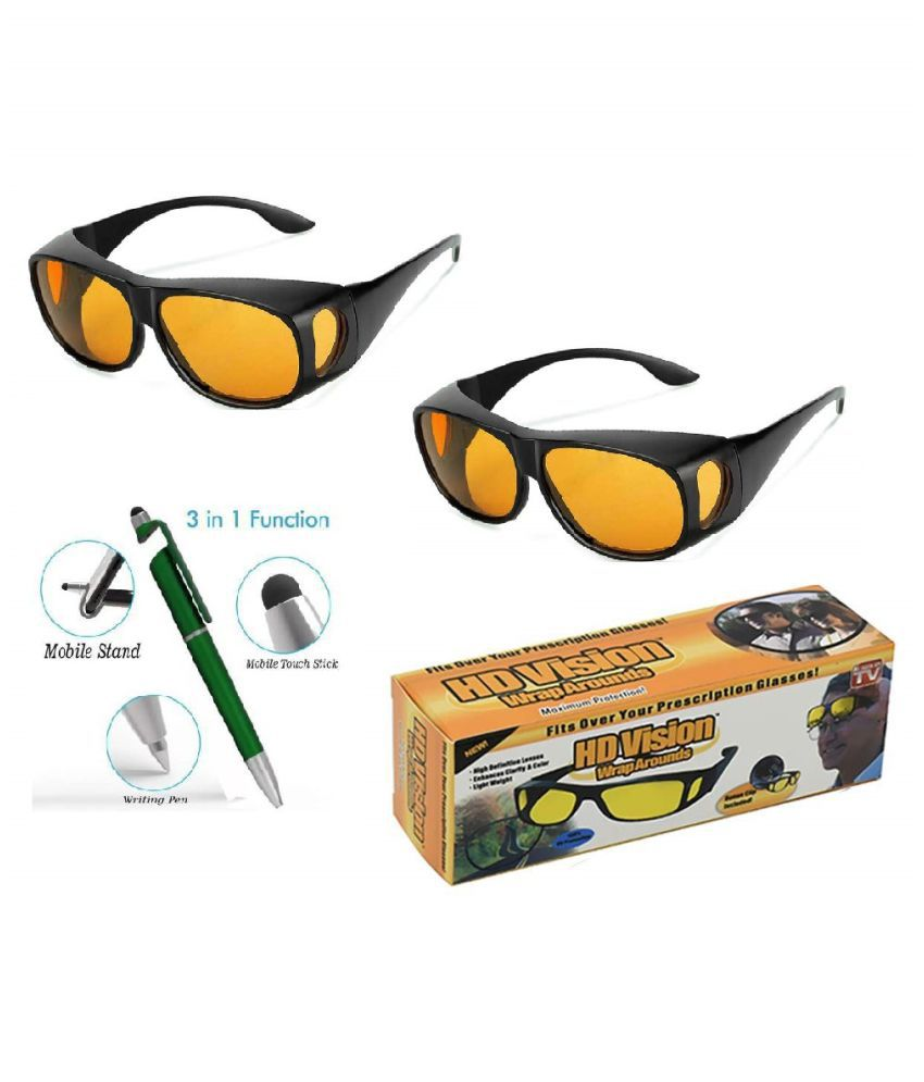 HD Unisex Wrap Arounds Day Night Sun Glasses UV Protected ( yellow) pack of 2 With Free 3 in 1 Wipe Pen