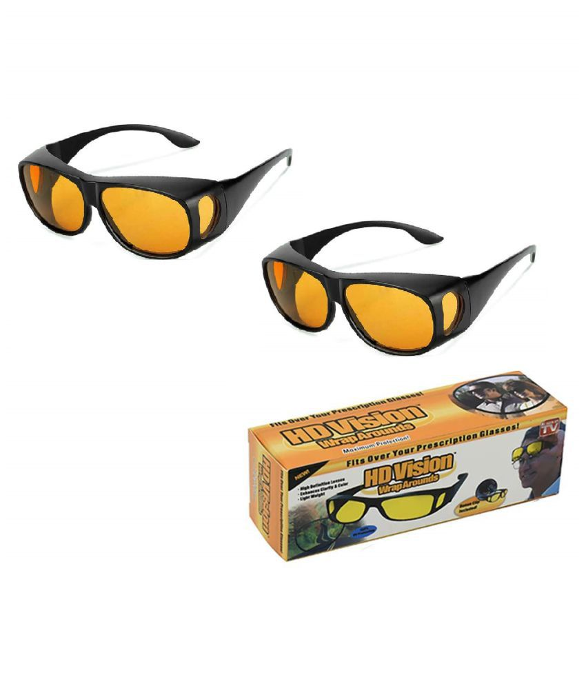 HD Vision Anti Glare Sunglasses Wrap Around Day & Night Driving  (yellow) 2Pcs