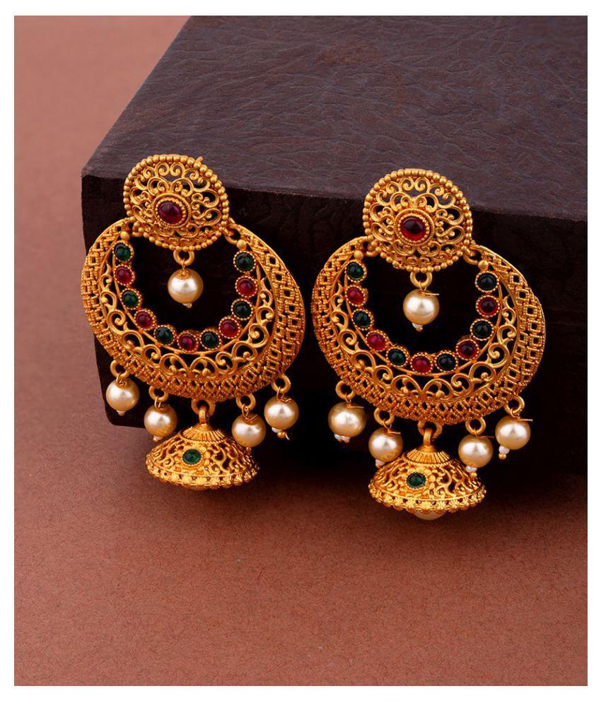 Voylla Chandbali Gold Toned Drop Earrings