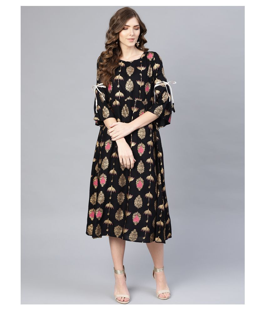 myshka Rayon Black Regular Dress