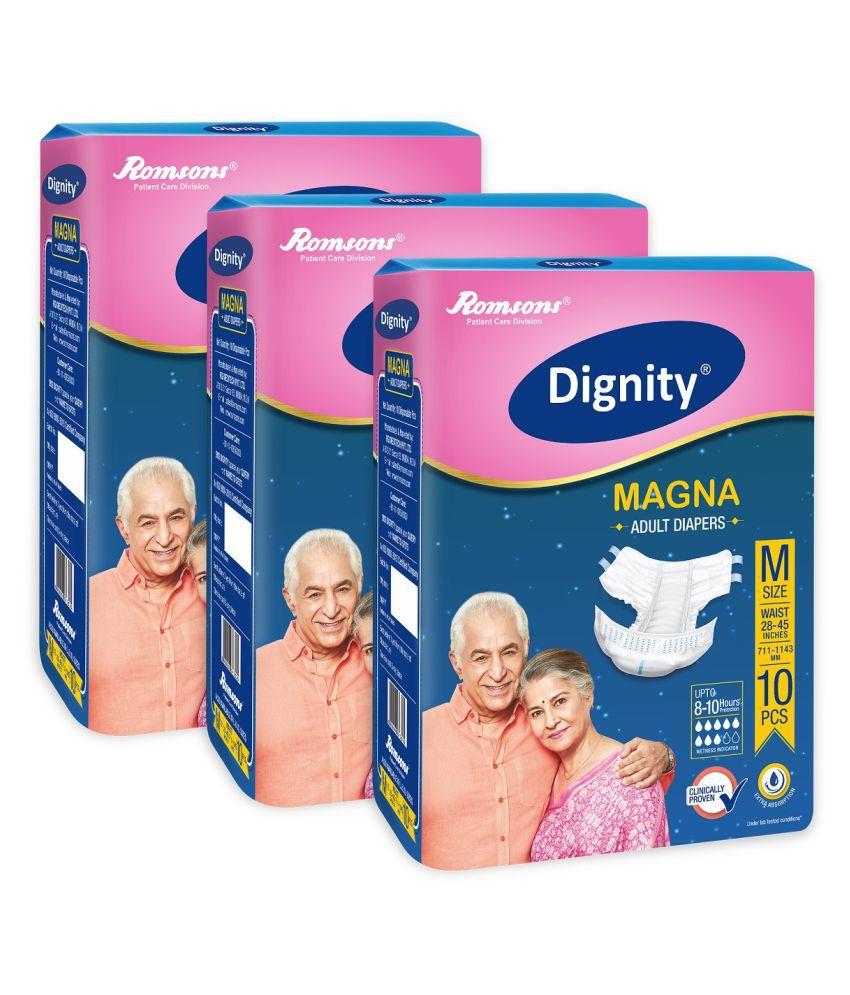 Dignity Magna Adult Diaper  Medium 30 Pcs Pack of 3