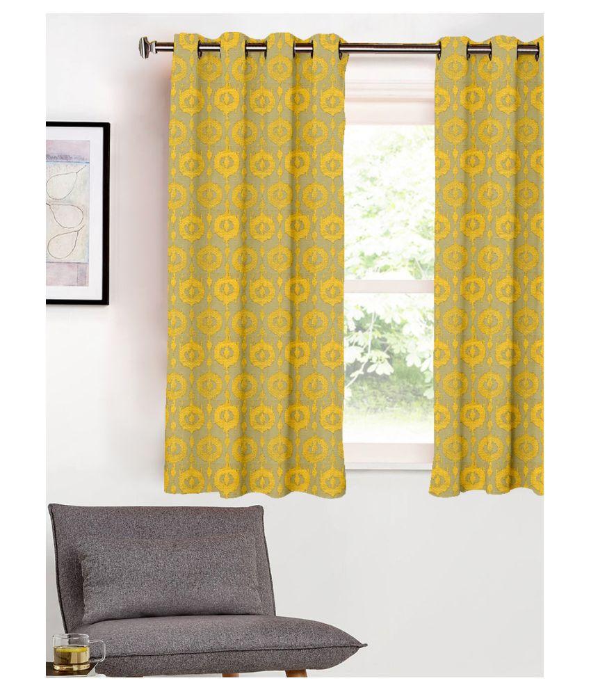 SHIVANAA HOMES Single Window Blackout Room Darkening Eyelet Polyester Curtains Mustard