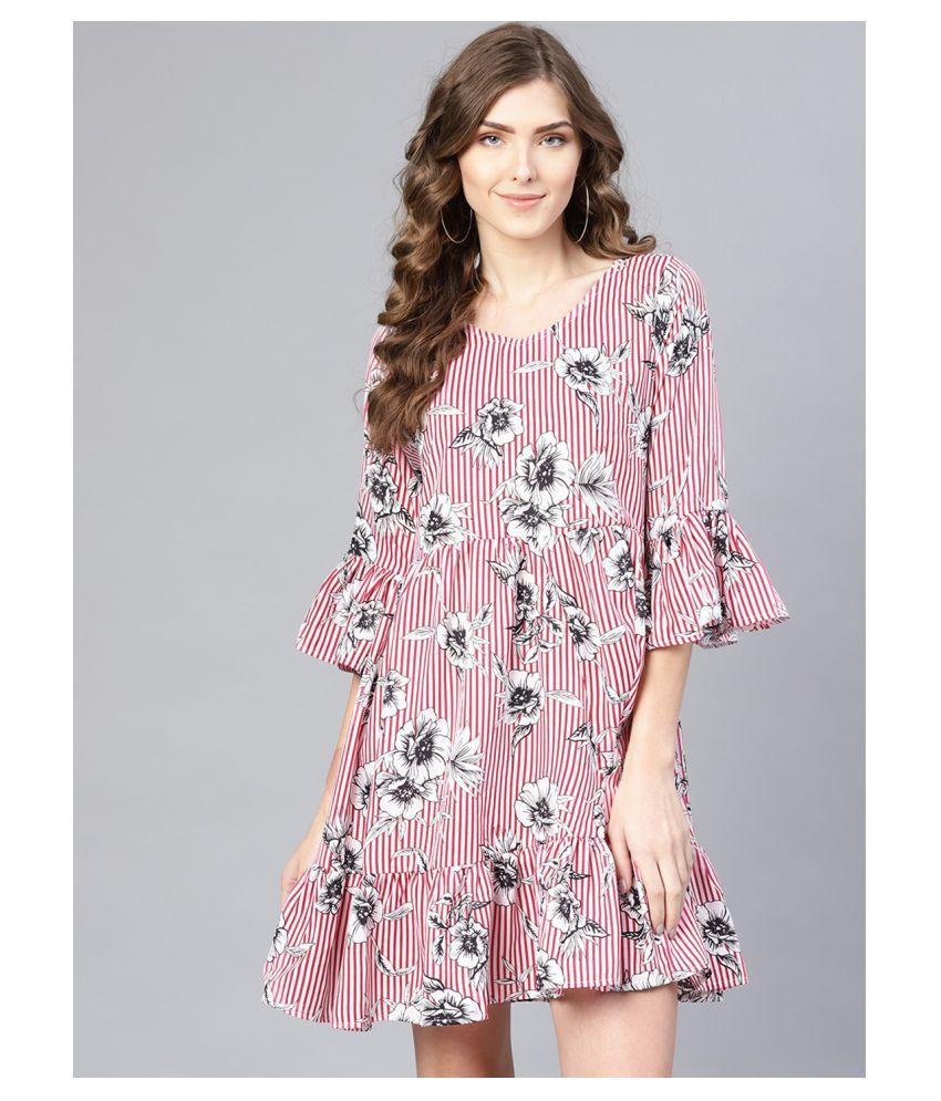 myshka Poly Crepe Pink Regular Dress