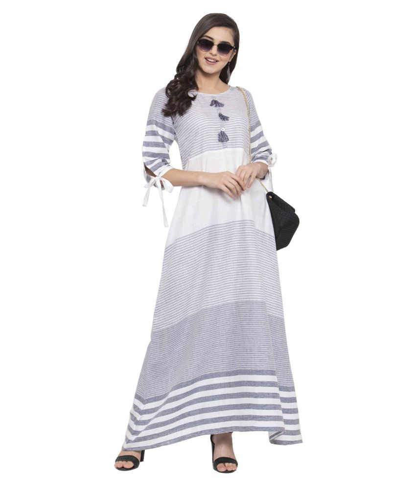 Anansa Rayon Grey Fit And Flare Dress