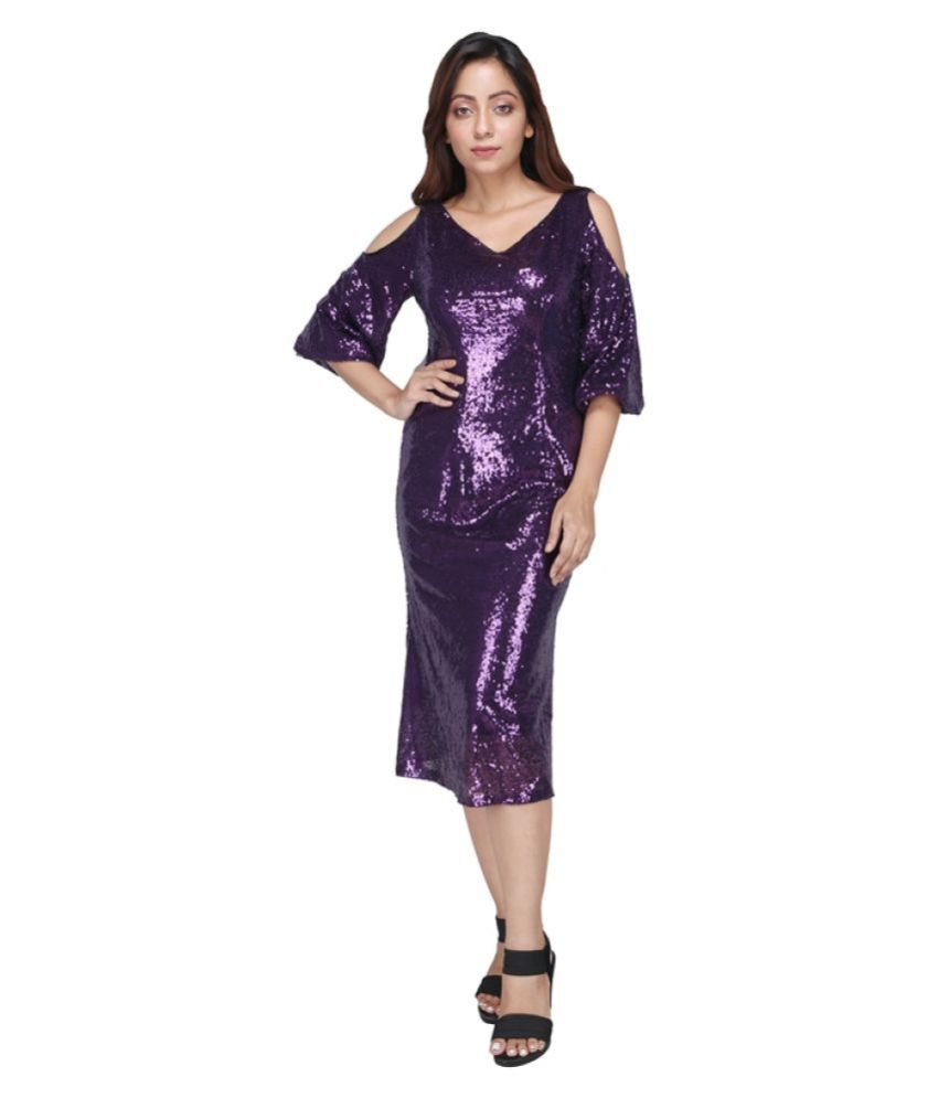 Preety Angel Polyester Purple Fit And Flare Dress