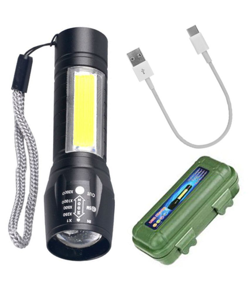 Rechargeable 3 Modes  Mini USB LEDZoom Torch 9W Flashlight Torch 500M 2IN1Torch - Pack of 1