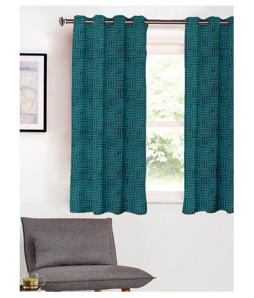 SHIVANAA HOMES Single Window Blackout Room Darkening Eyelet Poly Cotton Curtains Blue