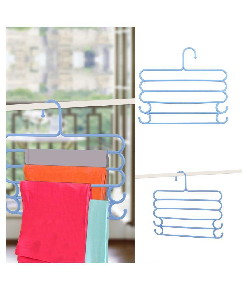 5 Layer Pants  Clothes Tie Belt Hanger Wardrobe Storage Organizer Rack 30l x w 35 x 30h cm (Assorted Color)