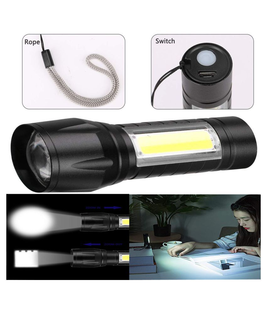 BP RECHARGEABLE LED FLASHLIGHT ZOOMABLE TORCH 5W Flashlight Torch - Pack of 1