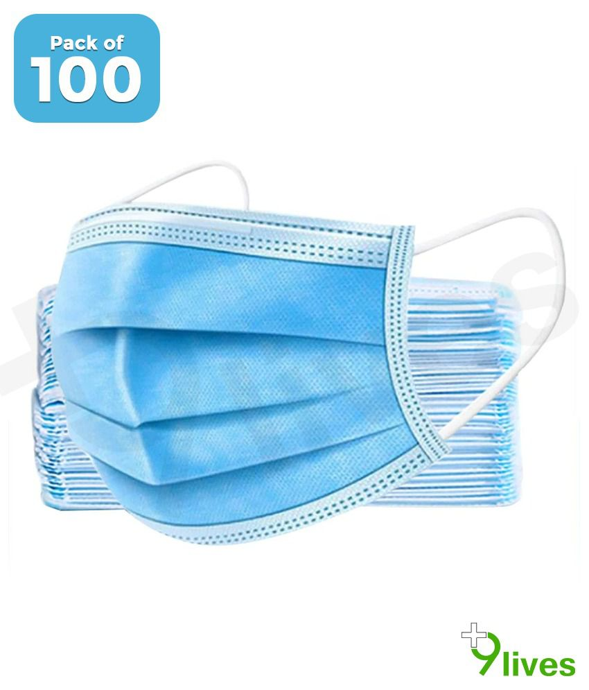 9lives 3Ply High Quality Anti Pollution Face Mask (Pack of 100)