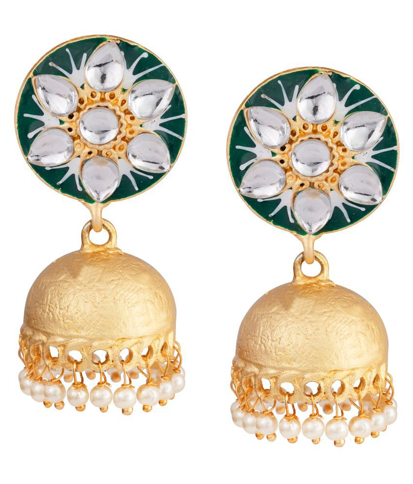JFL - Jewellery for Less Ethnic Gold Plated Floral Painted Meenakari Stone Studded Jhumki Earrings With Pearls For Women