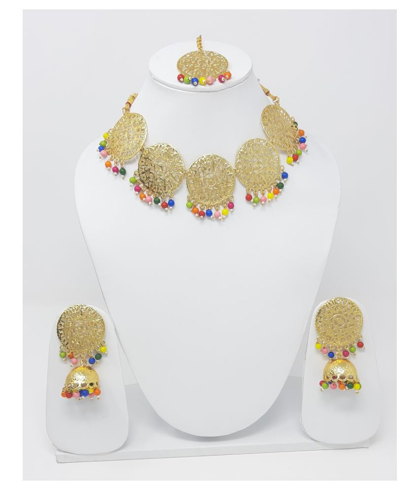 Jaishree Jewels Alloy Multi Color Contemporary Designer Gold Plated Necklaces Set