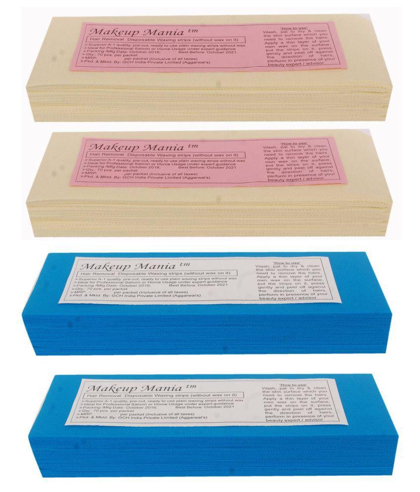 Makeup Mania Hair Removal Waxing Strips 280 Strips (4 Pkts x 70) Non-Woven Body Wax Strips (Ivory-Blue)