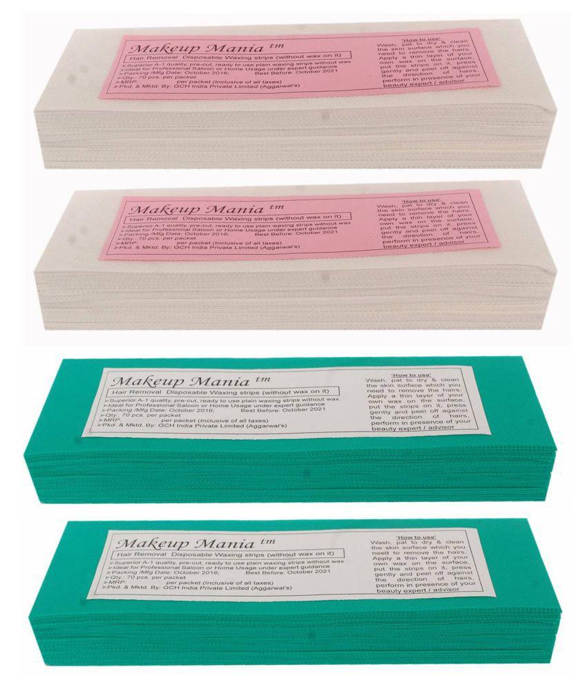 Makeup Mania Hair Removal Waxing Strips 280 Strips (4 Pkts x 70) Non-Woven Body Wax Strips (White-Green)