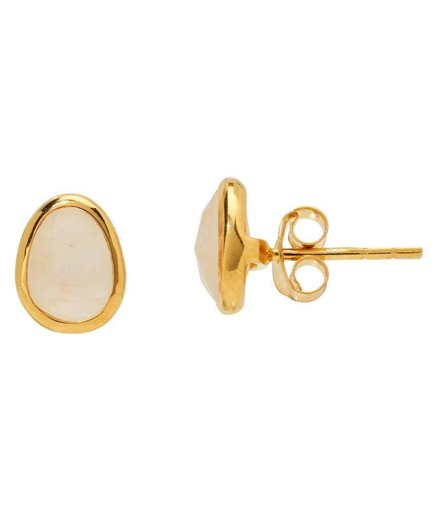 KUNDLI GEMS- Natural Moonstone stud Gold Plated Earring For Women & Girls
