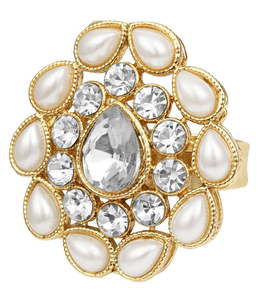 Kord Store Traditional Round Shape Alloy Gold Plated Moti Work Adjustable Finger Ring For Women & Girls