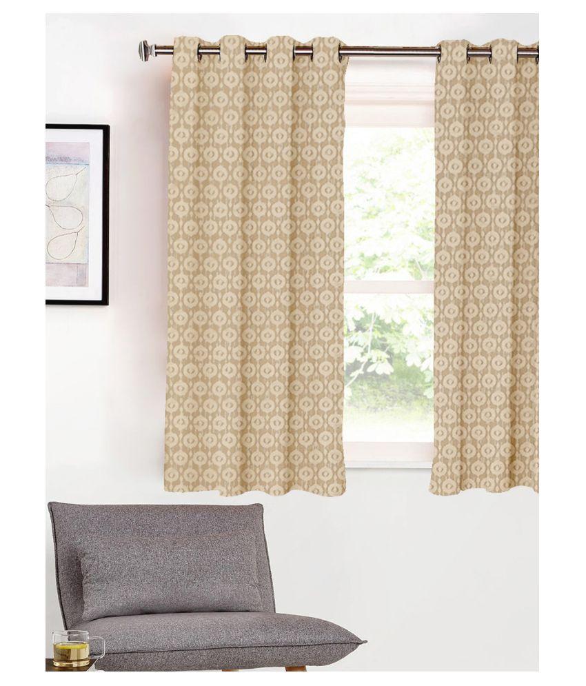 SHIVANAA HOMES Single Window Blackout Room Darkening Eyelet Poly Cotton Curtains Brown