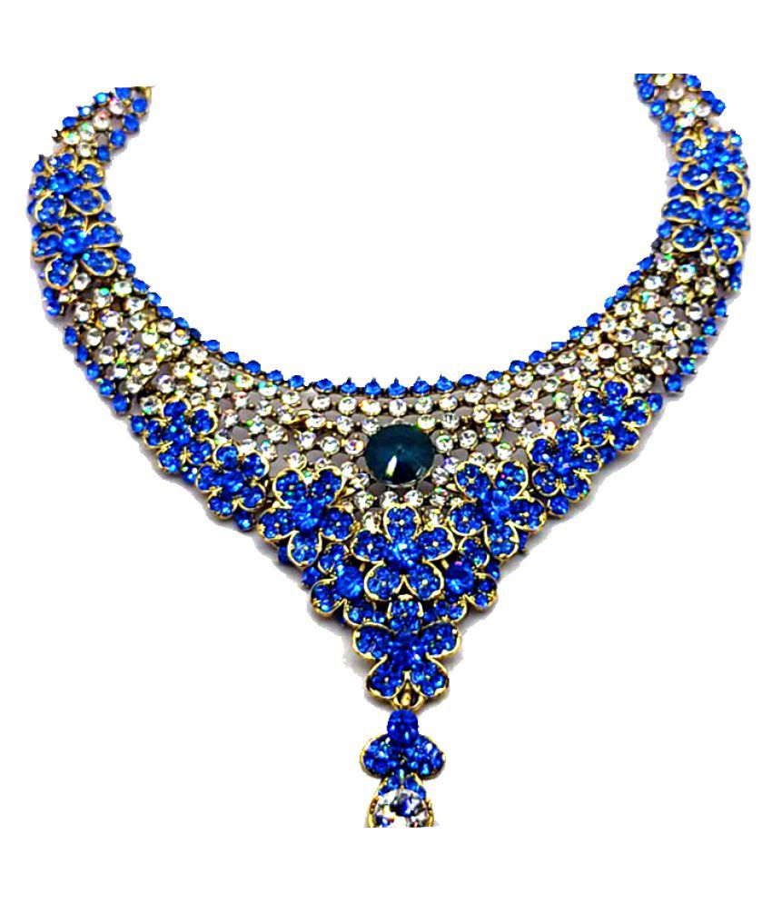 angel collection 20 Brass Blue Choker Designer Gold Plated Necklaces Set
