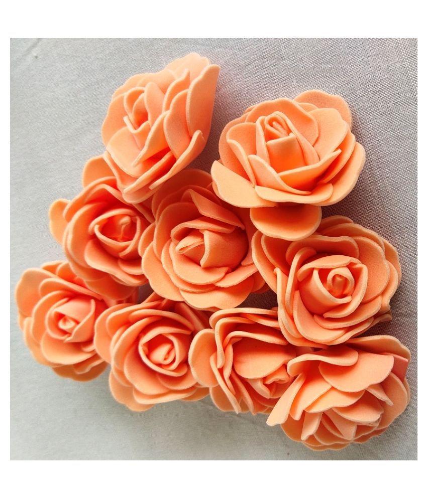 24Pcs Orange Color Rose Foam Artificial Flower For Craft & Party Decoration