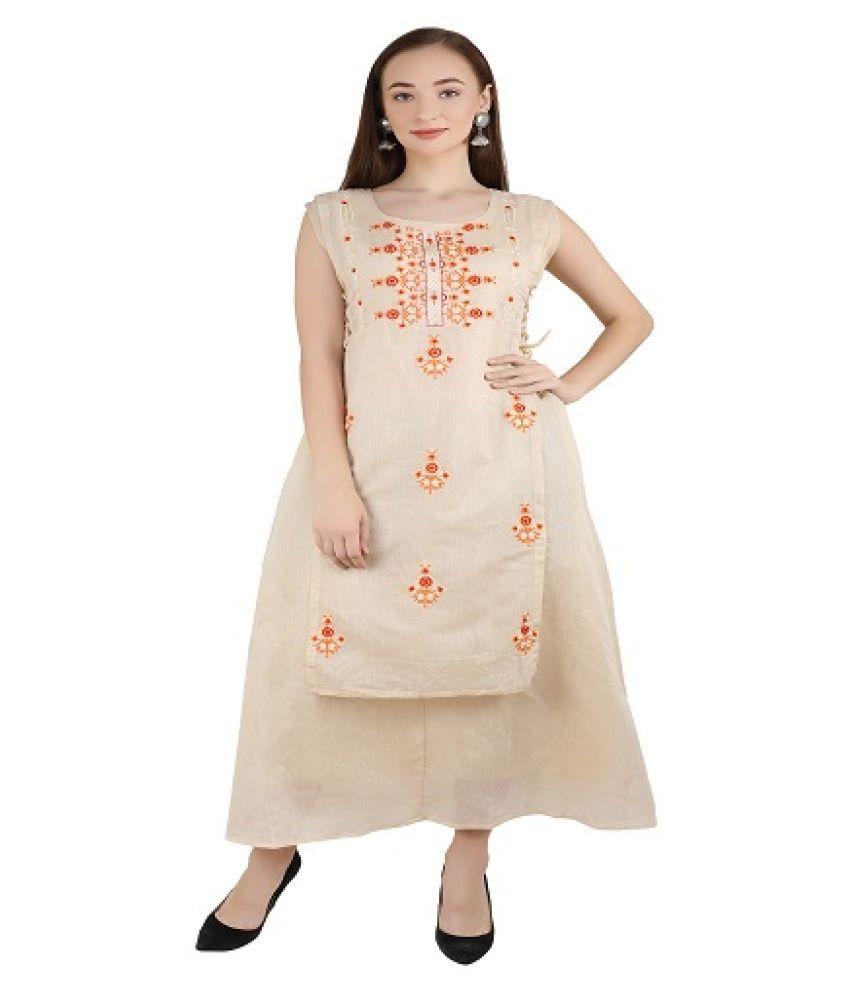 Aadrika Beige Chanderi Ethnic Gown