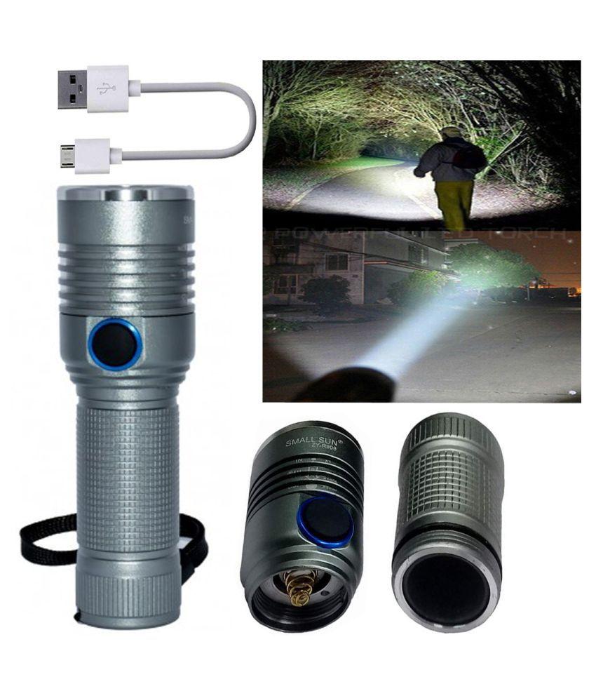 GA ZY-T116 Super Bright Flashlight LED Rechargeable flashlight with USB Charging 20W Flashlight Torch - Pack of 1